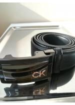 Мъжки черен кожен колан с автоматична тока - Calvin Klein