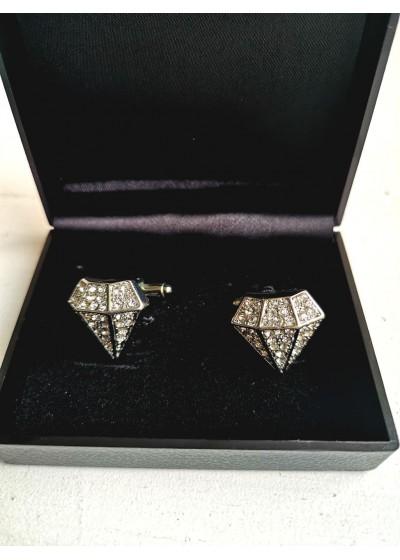 Мъжки луксозни бутонели за сватба и бал с кристали модел Diamond