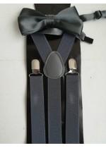 Луксозен комплект тиранти и папийонка в тъмно сиво