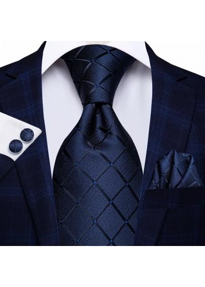 Комплект класическа сватбена вратовръзка кърпичка и ръкавели в тъмно синьо