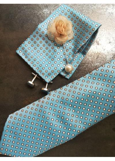 Комплект за младоженец бутониера вратовръзка, ръкавели и кърпичка в светъл тюркоаз и бяло