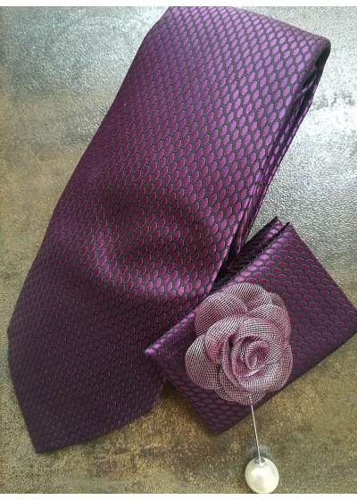 Комплект за младоженец вратовръзка, бутониера, ръкавели и кърпичка в тъмно лилаво