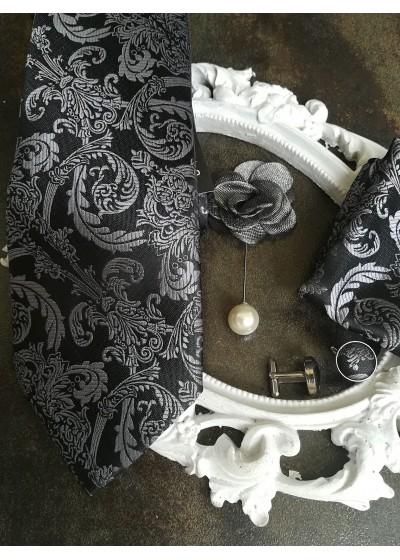 Комплект за младоженец Официална Вратовръзка с кърпичка, ръкавели и бутониера в черно