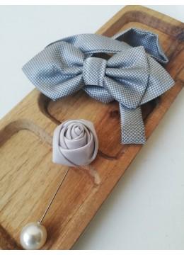 Стилен комплект за младоженец бутониера и папийонка цвят сиво