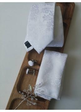 Комплект аксесоари за младоженец - дизайнерска бутониера, вратовръзка, ръкавели и кърпичка в бяло