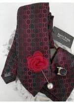Комплект за младоженец- вратовръзка с кърпичка, ръкавели и бутониера в червено, бордо и черно