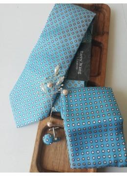Комплект за младоженец - дизайнерска бутониера, вратовръзка, ръкавели и кърпичка в светъл тюркоаз и бяло
