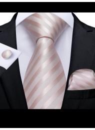 Модерен комплект вратовръзка кърпичка и ръкавели в цвят пепел от роза