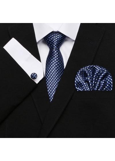 Мъжка вратовръзка в тъмно синьо и сиво комплект с ръкавели и кърпичка
