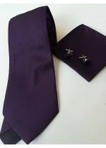 Комплект сватбена вратовръзка, ръкавели и кърпичка в наситено тъмно лилаво