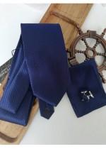 Елегантен мъжки комплект вратовръзка кърпичка и ръкавели в тъмно синьо