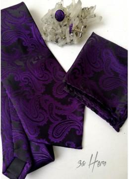 Комплект луксозна вратовръзка за сватба кърпичка и ръкавели в тъмно лилаво и черно