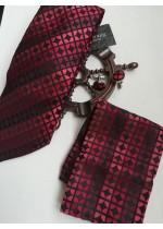 Стилен мъжки комплект копринена вратовръзка ръкавели и кърпичка за джоб в червено и бордо