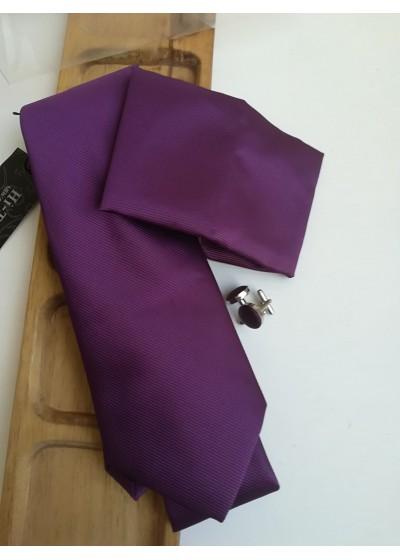 Красив комплект мъжка вратовръзка кърпичка и ръкавели в тъмно лилаво
