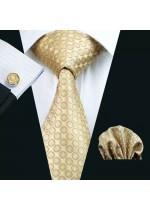 Елегантен и луксозен комплект сватбена вратовръзка кърпичка и ръкавели в златно