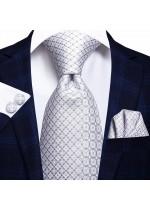 Комплект стилна вратовръзка кърпичка и ръкавели за младоженец в бяло и сребристо