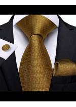 Луксозен Комплект класическа сватбена вратовръзка кърпичка и ръкавели в старо злато