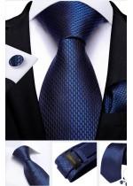 Луксозен Комплект класическа сватбена вратовръзка кърпичка и ръкавели в тъмно синьо