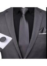 Комплект за младоженец- мъжка вратовръзка, ръкавели и кърпичка в тъмно сиво и черно