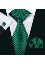 Комплект вратовръзка за младоженец кърпичка и ръкавели в тъмно зелено и черно