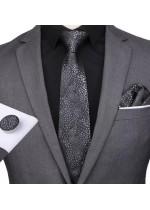 Комплект мъжка вратовръзка, ръкавели и кърпичка в черно и сребристо сиво