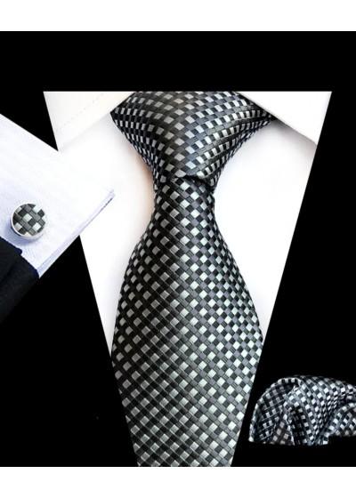 Комплект елегантна мъжка вратовръзка, ръкавели и кърпичка в черно сребърно и графит