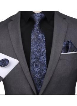 Ефектен комплект вратовръзка кърпичка и ръкавели в черно и тъмно синьо
