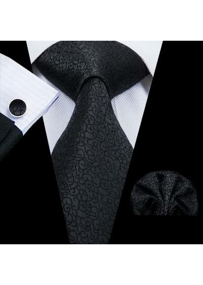 Луксозна вратовръзка за абитуриент и младоженец в черно в комплект с кърпичка и ръкавели