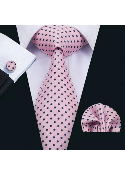Елегантен комплект вратовръзка кърпичка и ръкавели в розово на черни точки