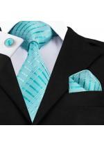 Елегантен комплект вратовръзка кърпичка и ръкавели в цвят тюркоаз (Тифани)