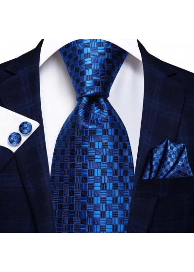 Комплект ефектна вратовръзка кърпичка и ръкавели за младоженец в тъмно синьо и кралско синьо