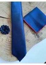 Стилен комплект за абитуриент мъжка вратовръзка кърпичка и бутониера