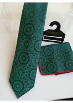 Луксозен комплект мъжка вратовръзка и кърпичка в маслено тъмно зелено с кутия