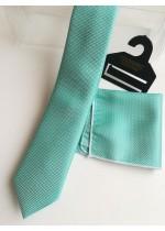 Елегантен комплект вратовръзка и кърпичка в цвят резеда с кутия