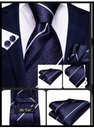 Комплект класическа сватбена вратовръзка кърпичка и ръкавели в тъмно синьо цвят деним и бяло