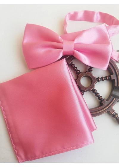Комплект папийонка и кърпичка в розово за сватба или бал