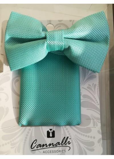 Красив комплект папийонка и кърпичка за джоб за сватба и бал в цвят мента Cannalli