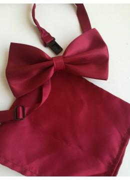Комплект папионка и кърпичка в Бордо за сватба или бал