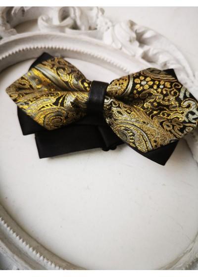 Стилна мъжка папионка в черно и златно