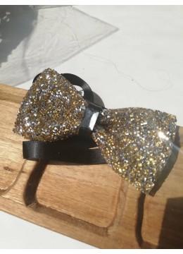 Луксозна кристална сватбена папийонка със златисти кристали