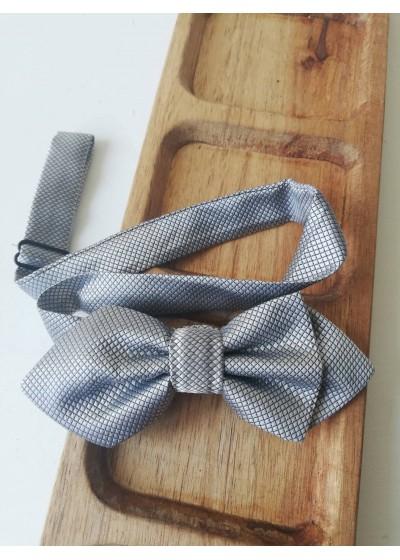 Сватбена папийонка в сиво с геометрични мотиви