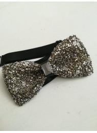 Сватбена папийонка със сребристи кристали