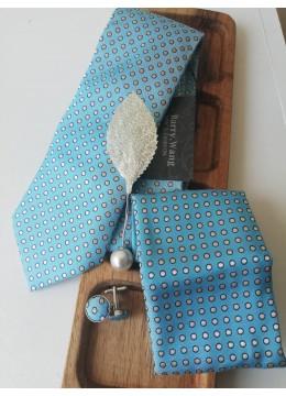 Комплект за младоженец бутониера листо, вратовръзка, ръкавели и кърпичка в светъл тюркоаз и бяло