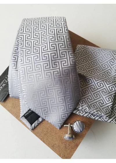 Комплект за младоженец- мъжка вратовръзка, ръкавели и кърпичка в сребристо сиво
