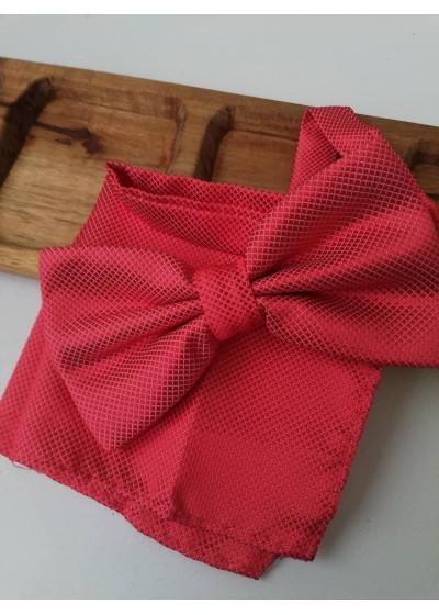 Папийонка за сватба в комплект с кърпичка - цвят корал