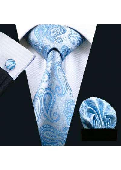 Комплект мъжка вратовръзка, ръкавели и кърпичка в светло синьо