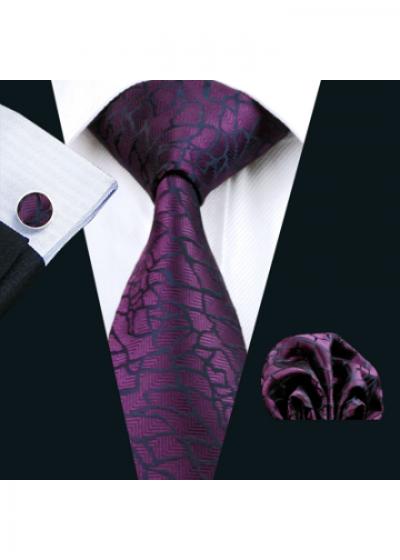 Комплект мъжка вратовръзка, ръкавели и кърпичка в лилаво