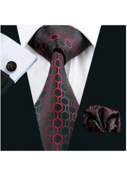 Комплект мъжка вратовръзка, ръкавели и кърпичка в черно и червено