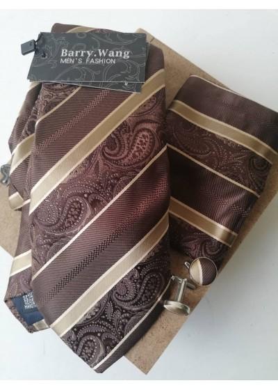 Комплект за младоженец- мъжка вратовръзка, ръкавели и кърпичка в кафяво и бежово