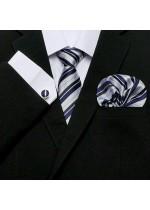 Комплект вратовръзка, кърпичка и ръкавели за младоженец в бяло и тъмно синьо